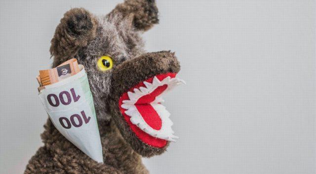 Wolf with Euro bills