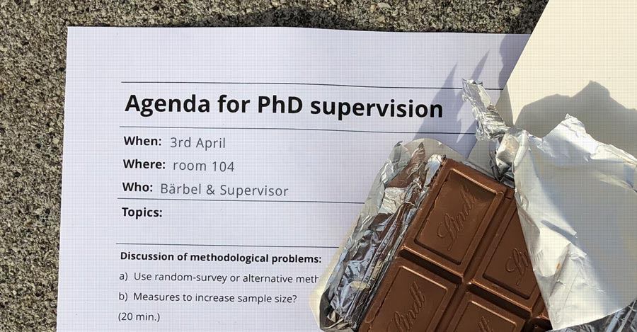 Agenda for PhD supervision and chocolate