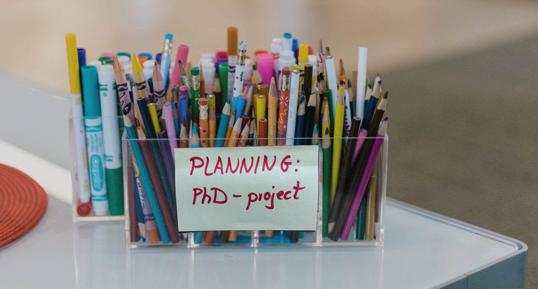 Coloured pencils for PhD project planning