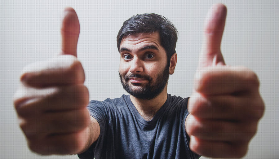 Researcher giving thumbs up