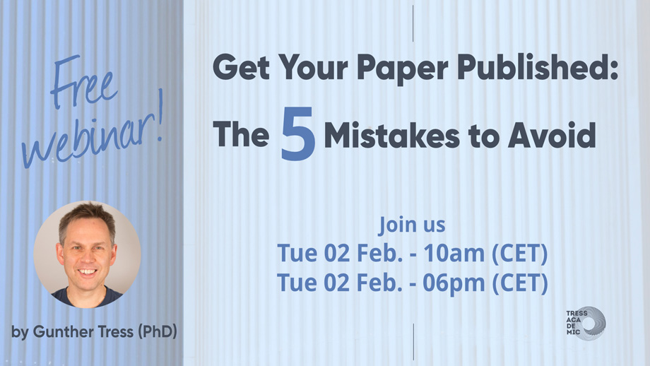 Free webinar: Get your paper published. The 5 mistakes to avoid.