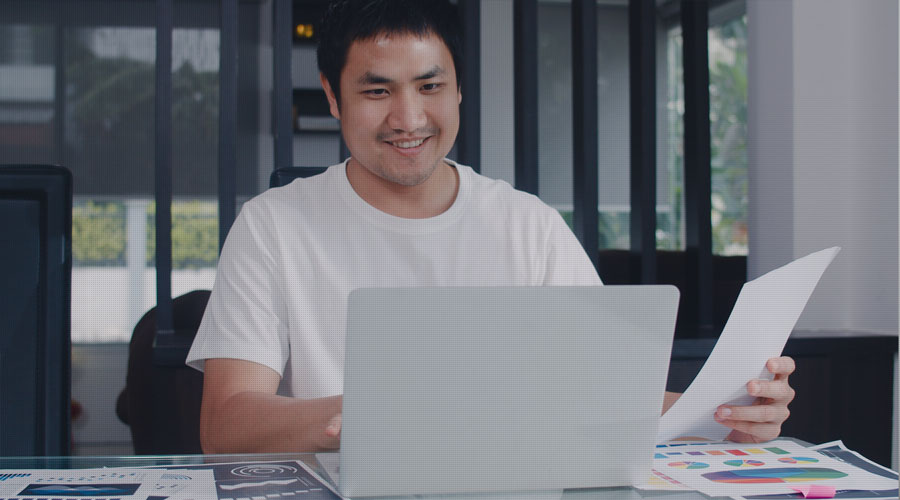 PhD student with laptop